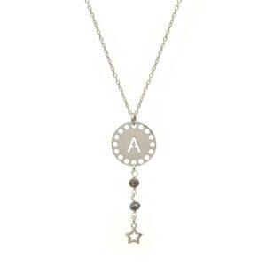 collar initials opalo plata