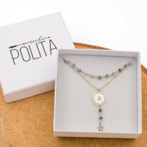 pack collar initials opalo plata