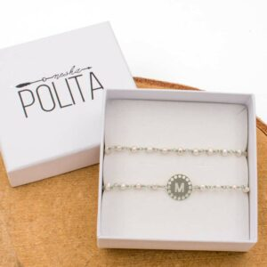 pack pulsera initials perla plata