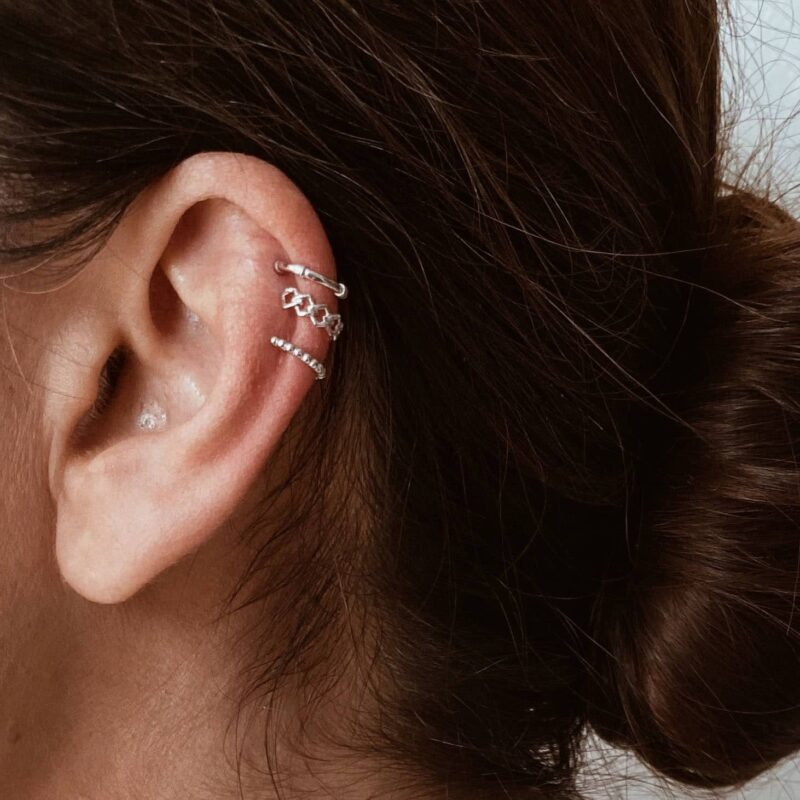 pack de pendientes earcuff plata de ley