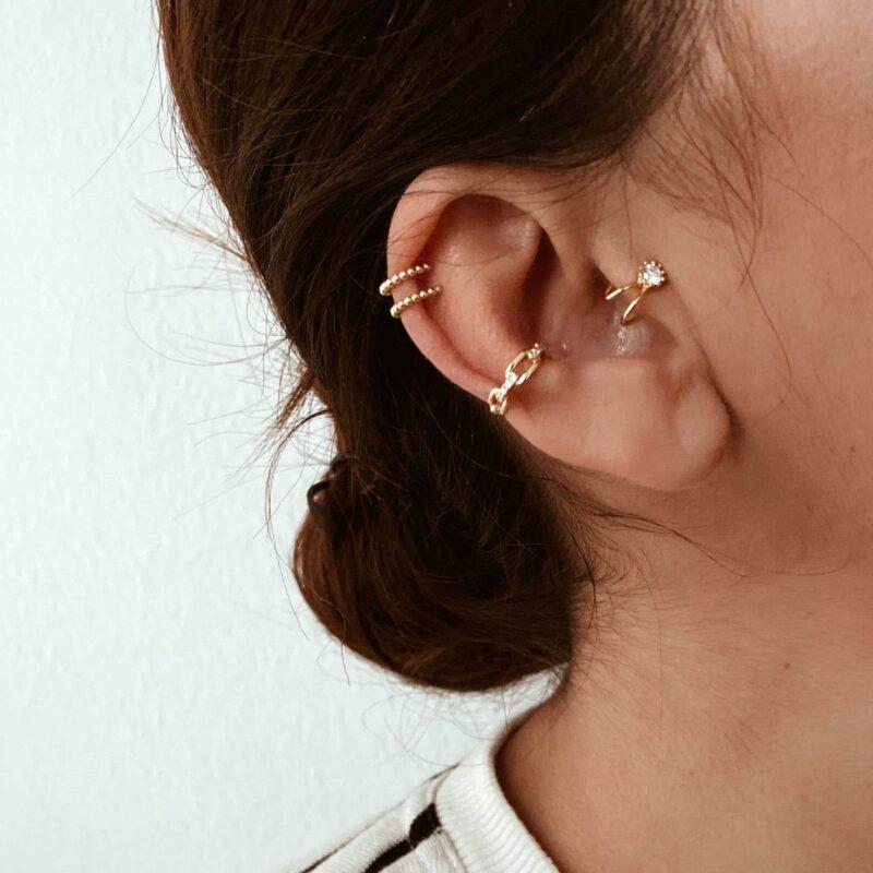 pack earcuff sin agujero circonita plata