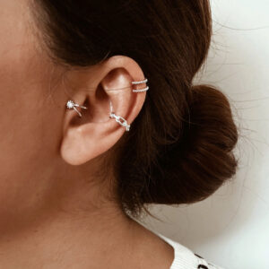 pack pendientes earcuff plata de ley