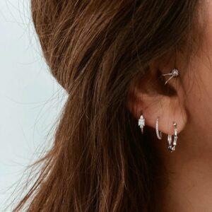 pendientes aro plata y earcuff sin agujero