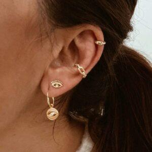 pendientes ojo y earcuff plata