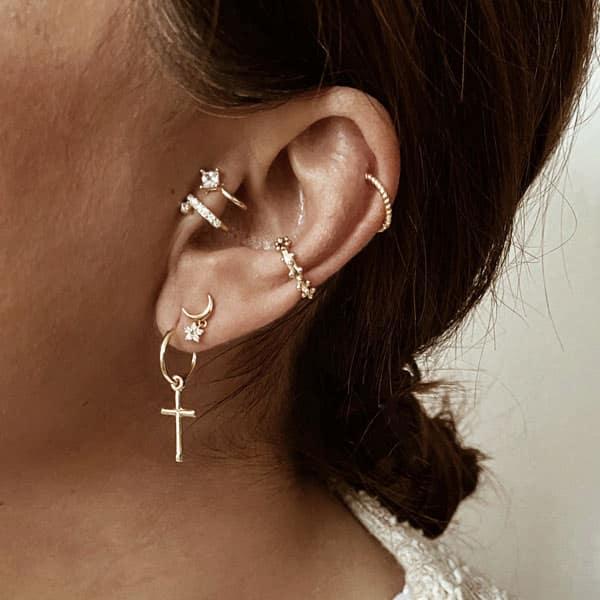 pendientes plata y earcuff cruz