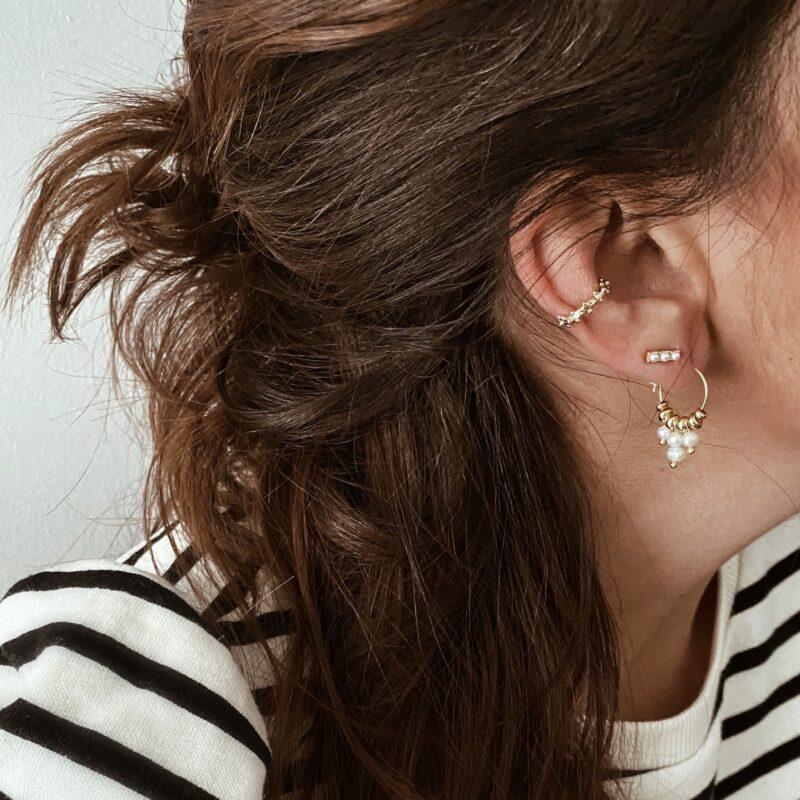 pendientes perlas y earcuff