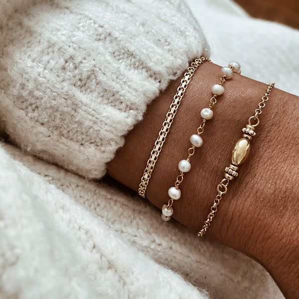 pulseras perlas plata