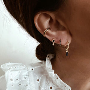 pendientes aro earcuff negro plata oro