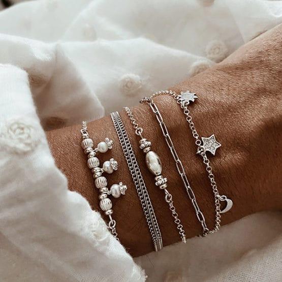 pulseras plata perlas