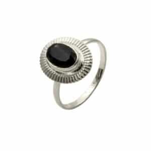 anillo lisan negro plata