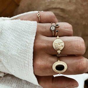 anillos plata bano oro espinela