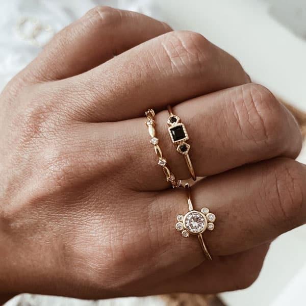 anillos plata baño oro