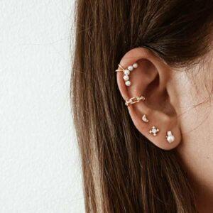pendientes plata perlas earcuff