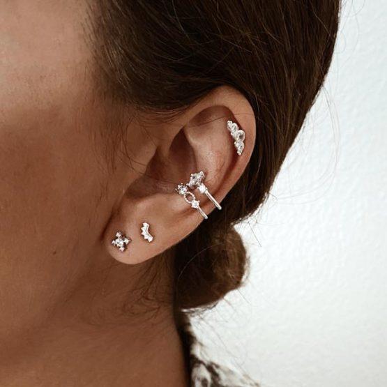 pendientes y earcuff circonita plata