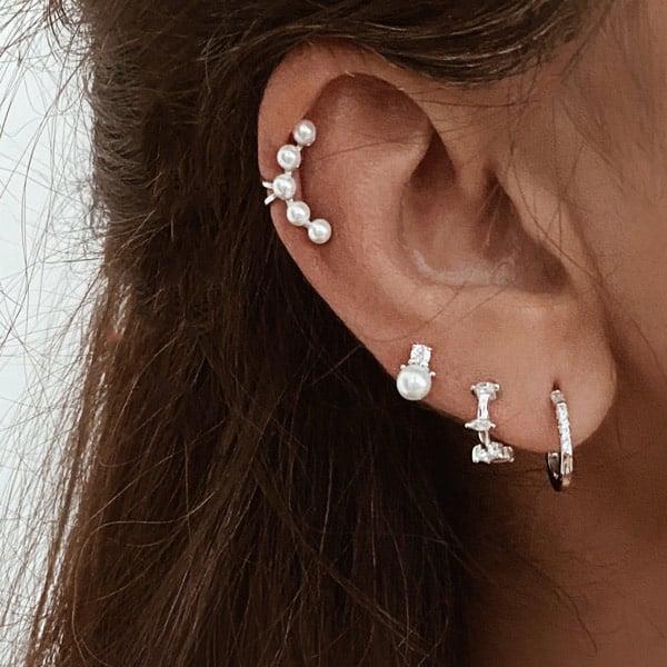 pendientes plata perla