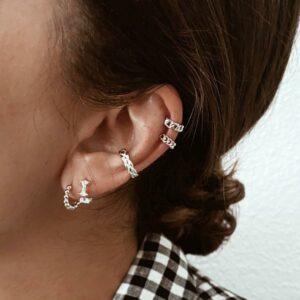 pendientes aro y earcuff plata de ley 925