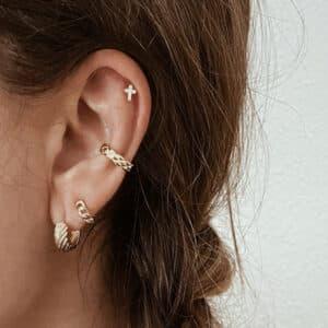 pendientes y earcuff plata