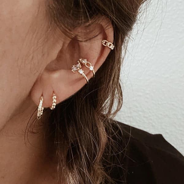 pendientes y earcuff circonitas