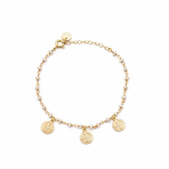 pulsera saint perla oro