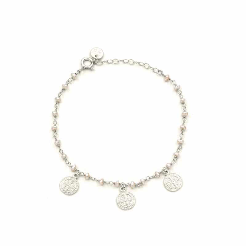 pulsera saint perla plata