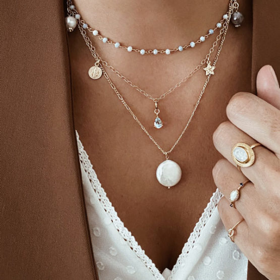 collares plata perla
