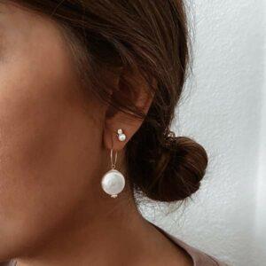 pendientes perla aro plata