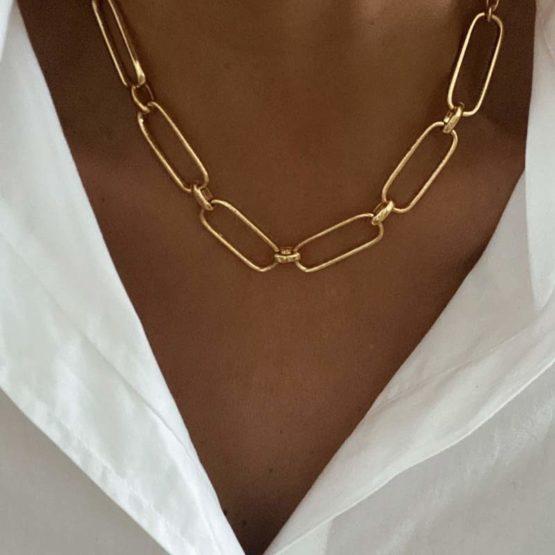 collar eslabones grandes oro