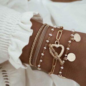 pulseras corazon medallas perlas