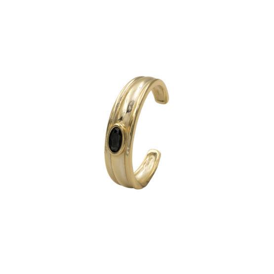 anillo garna negro oro