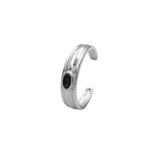 anillo garna negro plata
