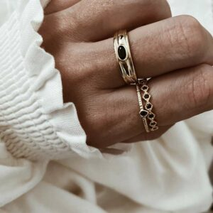 anillos plata baño oro circonita negra