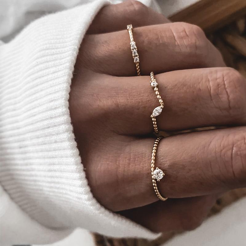 anillos plata y circonitas
