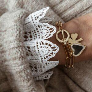 pulsera eslabones corazon y trebol