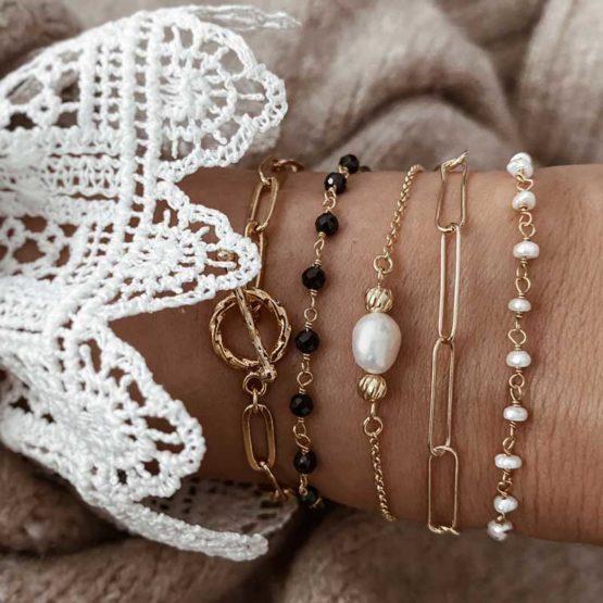pulseras eslabones y perlas