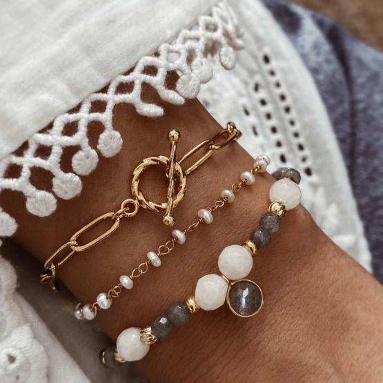 pulseras piedra natural, perlas y eslabones