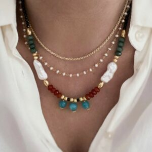 collares piedra natural y perlas plata bañada oro