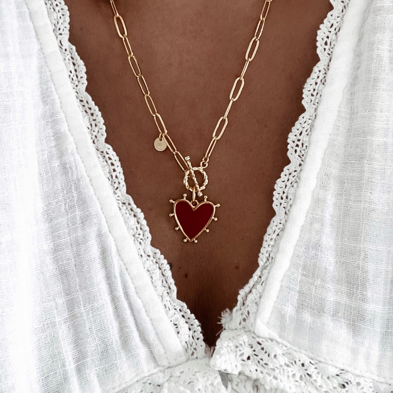 collar romeo rojo corazon