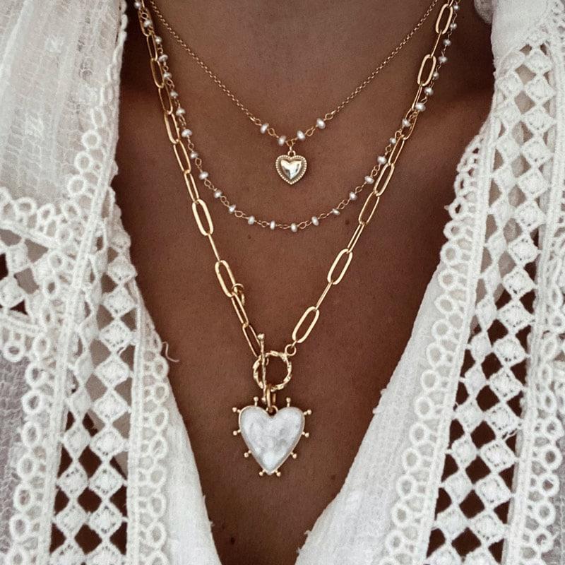 collar sweet heart, bimba y romeo blanco