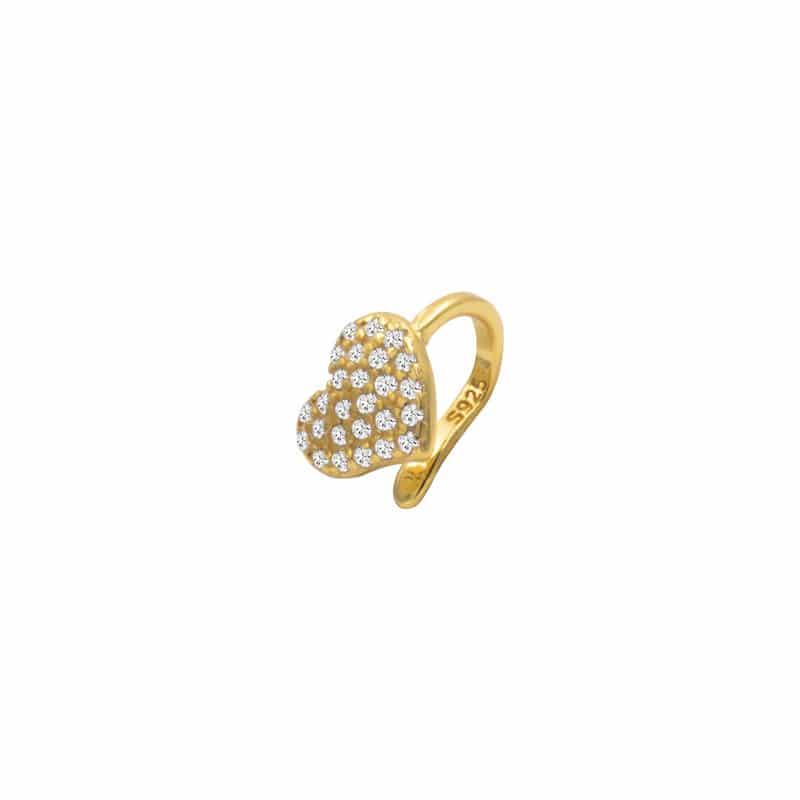pendiente earcuff cuore oro
