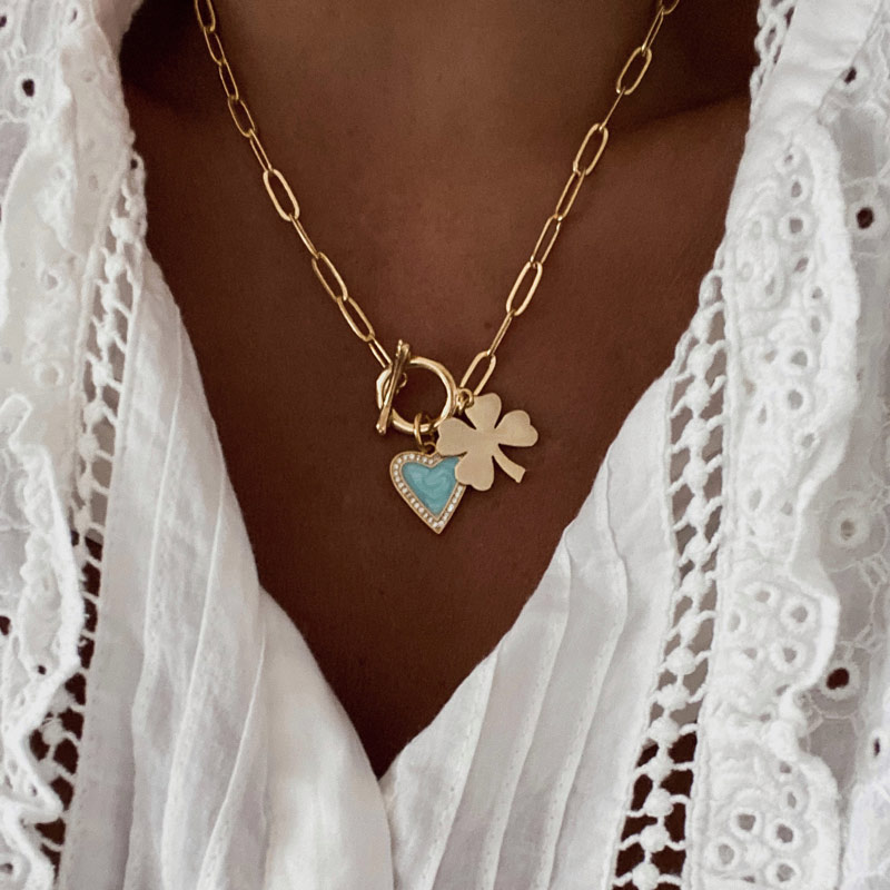 collar corazon y trebol turquesa