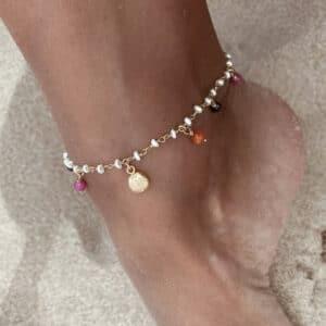 tobillera perlas conchas
